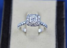 14k White Gold Halo Princess Diamond Engagement Ring 1.43 TCW