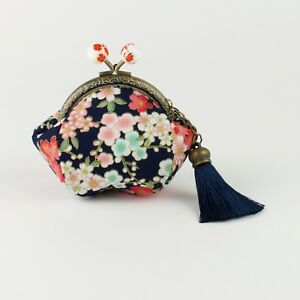 Hand crafted blue Japanese Sakura coin purse - collectable #0125