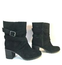 CLARKS Black Suede Leather Side Zip Harness Ankle Moto Boots Size 6