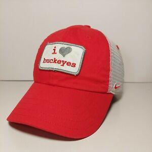 "Nike Team ""I Heart Buckeyes"" OSU Ohio State Red White Trucker Hat Adjustable"