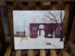 """The Friendly Beasts by Billy Jacobs, Canvas picture, 8""""x10"""", Snowman, Barnyard"""