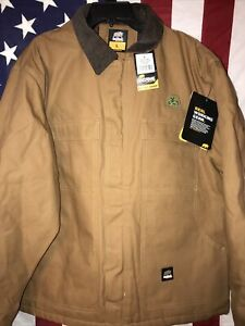 """Berne Mens Brown Duck 100% Cotton Chore Coat Insulated Size Large 44-46"""" NWT!!"""