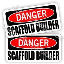 Hard Hat Stickers | Danger SCAFFOLD BUILDER | Safety Funny Helmet Decals Labels
