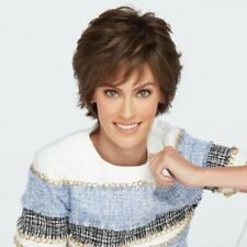 Fashion Women Lady Short Wig Brown Gradient Natural Wavy Curly Hair Wig