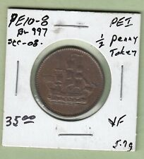 """Prince Edward Island  """"SHIPS COLONIES & COMMERCE"""" 1/2 Penny Token - BR997 - VF"""