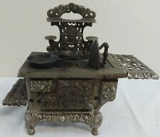 Antique Child's Miniature Sample Cast Iron Eagle Stove w/Pans