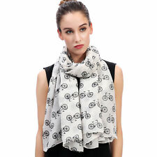 SCARF SHAWL WRAP WITH VINTAGE BICYCLE BIKE DESIGN FOR LADIES WOMEN