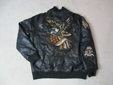 Ed Hardy Avirex Leather Jacket Adult Extra Large Black Gold Christian Audigier