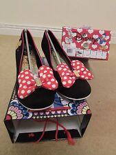 Irregular Choice Clásico Minnie Negro Rojo Disney Arco Del Lunar Zapatos Uk Size 4