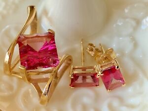 "Pink Tourmaline 14k gold Set Earrings Pendant 5.76 tcw stud 1/8"" dangle 5.09g"