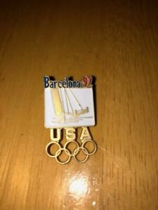 Olympic Pin - Barcelona 92 Sailing - 1992 USA with Olympic Rings