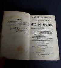 Jeux de Société, Encyclopédie  Roret, Paris 1846