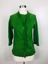 Boden Womens Green Chunky Button Down Ruffled Front Cardigan Sweater Size 8 B446