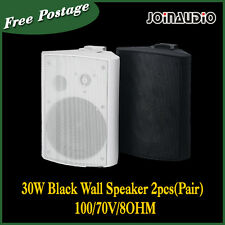 2x 30W  Black Wall Speaker 2pcs(Pair) 100/70V/8OHM