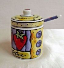 MSC Joie De Vivre Confiture Fruit Jam Jelly Jar Canister with Lid and Spoon