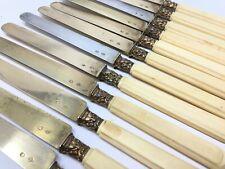 Ancienne Suite de 12 Couteaux Vermeil Argent Massif Minerve Antique Ruddy Knife