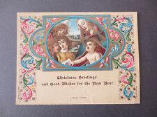 Vintage CHRISTMAS Greetings Card Florentine Embossed Virgin Mary & Child 1931