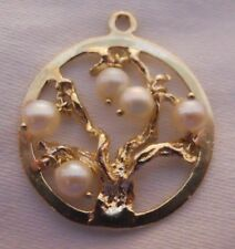 Vintage 14k Gold TREE OF LIFE WITH CULTURED PEARLS Bracelet Charm 2.8 Gr #18014F