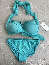 NEW Seafolly Goddess Soft Cup Halter Top Size 10 Retro Pant Size 8 Bikini Set