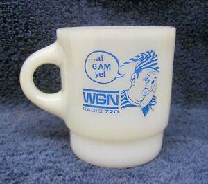 WGN 720 Radio Station Mug Wally Phillips Vintage Milk Glass Federal Coffee Cup