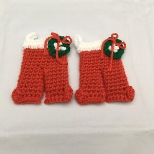 Santa Red PJs Crocheted Refrigerator Magnets Set of 2 Christmas Wreath Fridgies