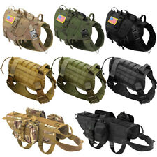 Large K9 Dogs Harness MOLLE Service Training Vest with Pouch Patches Brown Green