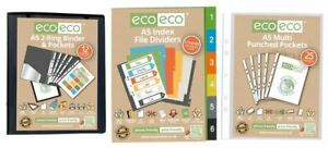 eco-eco 1x A5 Recycled Black Presentation Ring Binder + 37 Pockets + Dividers