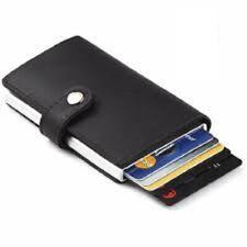 Leather ID Credit Card Men Holder RFID Wallet Pop Up Cash Holder Purse Slider