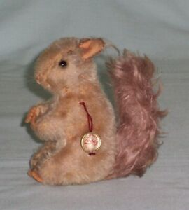 Hermann Squirrel with swing tag label. Mohair Vintage character  Teddy Toy.