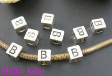 40 pcs Tibetan silver letter B cube beads A494