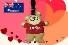 Cute I LoVe You Hug Teddy Bear Silicone PVC Cartoon Travel Luggage Tag Bag