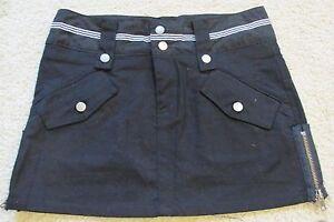 New Women's Arden B Black Cargo Mini Skirt SEXY! Side Zippers Junior's Size 1