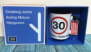 30th Birthday Novelty Mug - Downhill From Here - New In Box