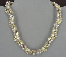 Kramer Necklace Vintage Yellow Stones Enamel Faux Pearl Gold Plate Rhinestones