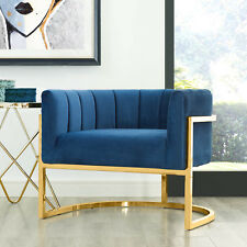Gold Steel Velvet Accent Chair Occasional Armchair Hollywood Regency Tub Lounge