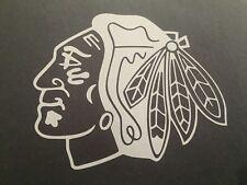 NHL CHICAGO BLACKHAWKS WHITE VINYL STICKER / DECAL