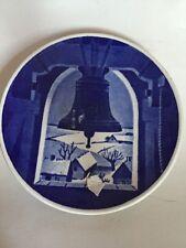 "Royal Copenhagen Denmark ""Hvidovre Kirketarn"" blue china collector plate"