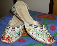 Ladies Ballet Flat Shoes, Bollywood, Hand Made, Embroidered Floral size 8