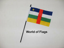 """CENTRAL AFRICAN REPUBLIC SMALL HAND WAVING FLAG 6"""" x 4"""" Africa Crafts Display"""
