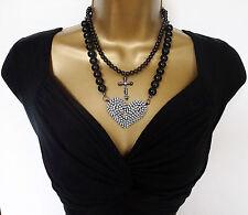 """Sexy 18"""" Cristal Perlas de Imitación Corazón & Cruz Colgante Collar Cadena de Perla y Negro"""