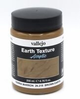 Vallejo 26.219 Brown Earth (200ml Pot) Acrylic Texture Mud Clay Dirt Effects NIB