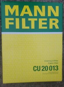 Mann CU20013 Cabin Filter ,Citroen, Peugeot, Toyota