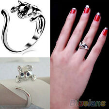 Silver Plated Wrap Cat Ring With Black Crystal Eyes/ approx. size 8/ U.S Seller
