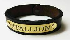 LEATHER HORSE BRACELET MEN'S/WIDE HANDMADE WITH CUSTOM ENGRAVED  PLATE