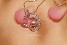 ANGEL'S TEAR 6-7MM FRESHWATER PEARL NECKLACE RIBBON PENDANT CRYSTAL LAVENDER