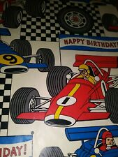 "New ListingVtg Drag Racing Happy Birthday Wrapping Paper Gift Wrap One Sheet Unused 30""X20"""