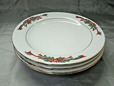 """Fairfield POINSETTIA & RIBBONS Set of 4-10 1/2"""" Dinner Plate Christmas Holiday"""