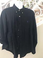 Ralph Lauren Men's Black Linen Button Front Shirt Size XL