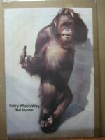 every which way but loose Vintage Poster funny  chimp 1978 movie Inv#6140