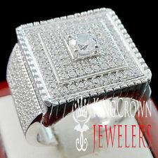 REAL SILVER MENS BIG BOLD WHITE GOLD FINISH PINKY RING BAND SIMULATED DIAMOND